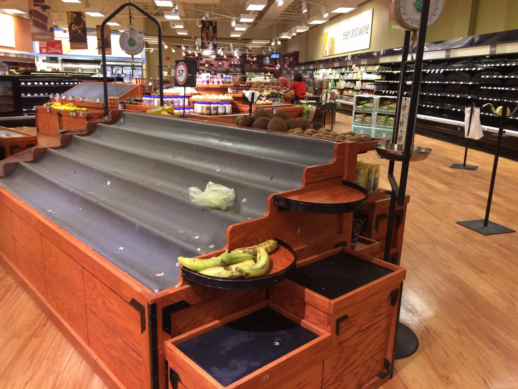 Store shelves left bare in preparation for the storm