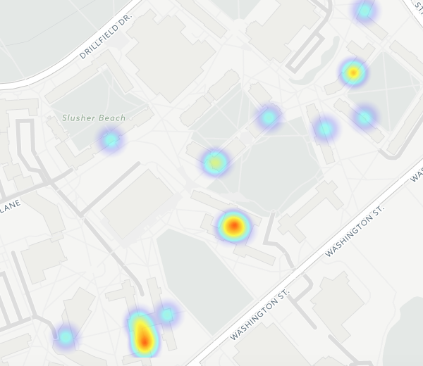 A heat map showing clusters of reported assaults at Virginia Tech