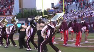 The tubas preform the Hokie Pokie in the end zone at Lane Stadium