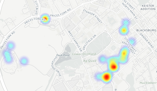 The full heat map of reported assaults at Virginia Tech