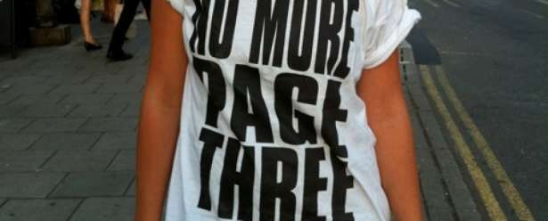 The 'No More Page 3' argument. Presented on a girl's chest.