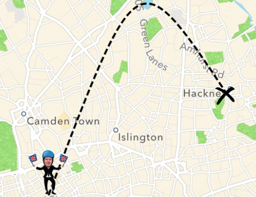 The app even gives you an estimated arrival time by catapult, complete with a diagram of BoJo flying through the air.