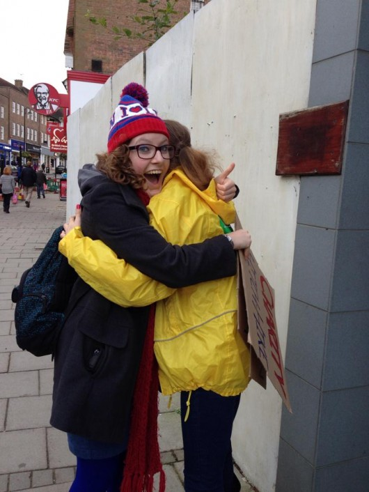 The other Lost Lawyer also hugging a stranger
