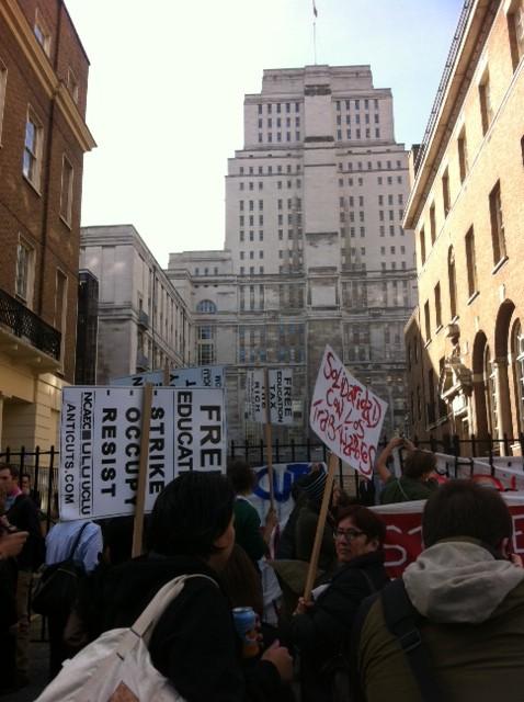 Protesters outside Senate House