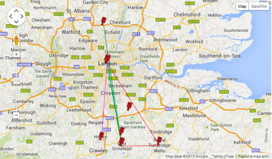 Current location of the teams. Some nearly home already!