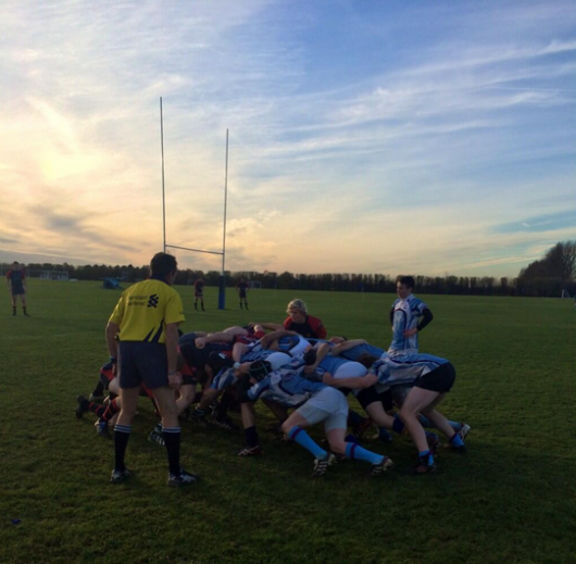 The 2s compete in a defensive scrum in their 36-5 win over Imperial. (Photo from @UCLUMensRugby)