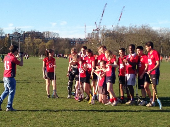Cheerful in defeat: KCL pose for a varsity souvenir