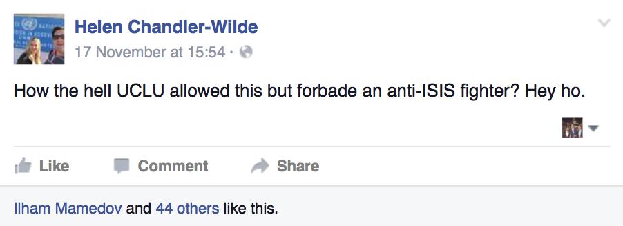 Tory Soc president Helen Chandler-Wilde vocalises her rage