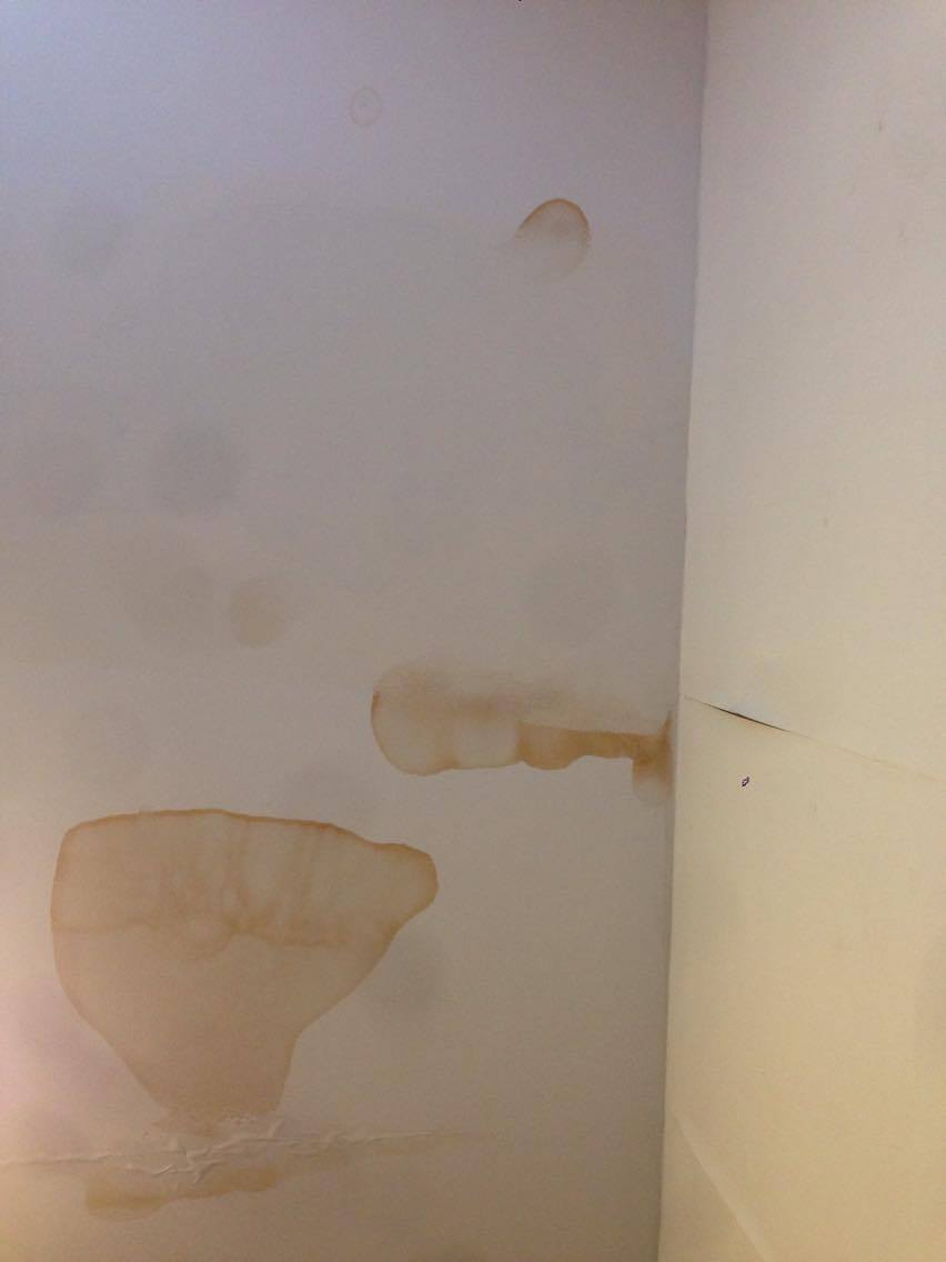 This photo shows the ceiling two months ago- displaying clear signs of water damage