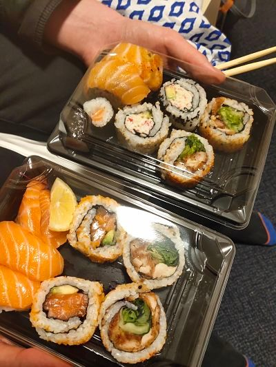 Image may contain: Meal, Sushi, Food