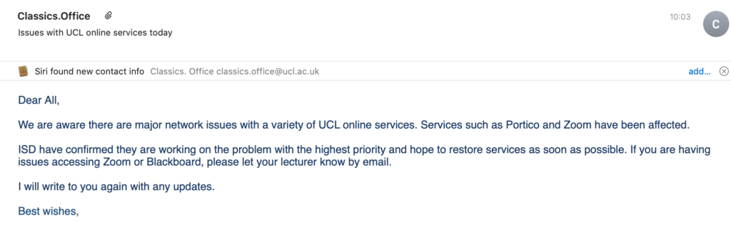 UCL IT Network Down