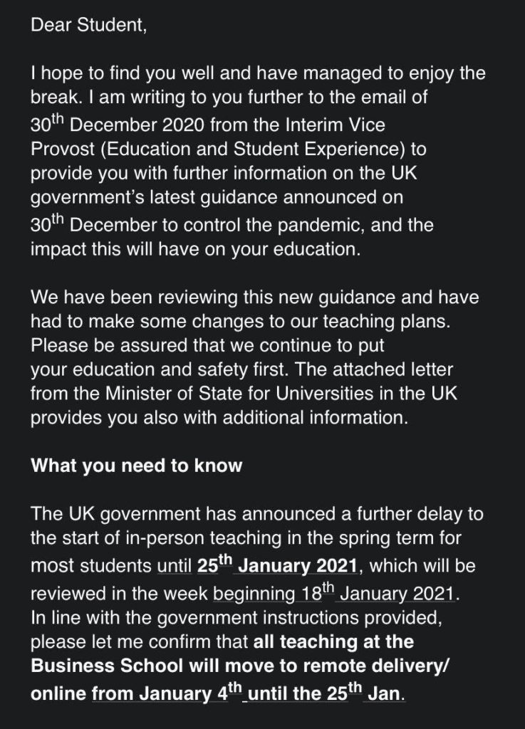 Email sent to Imperial Business College Students