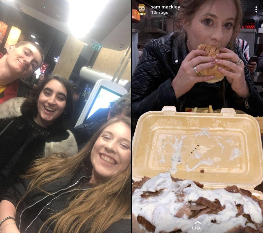 People at McDonald's and eating food