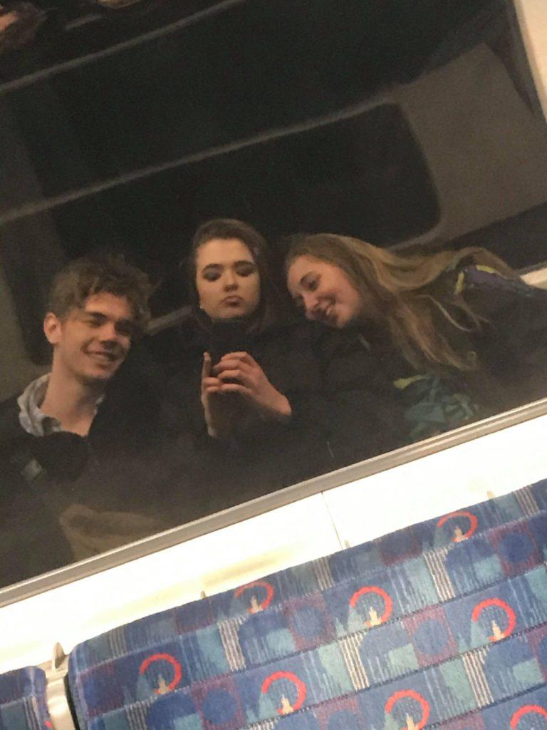 Three people on the tube
