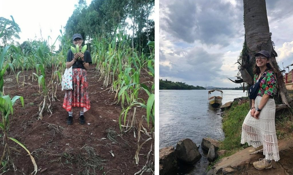 Two photos of Elena in Uganda
