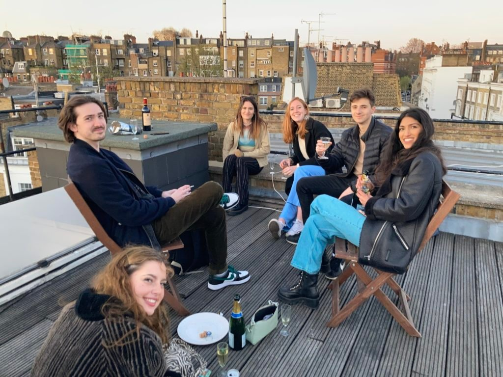 posh students on rooftop