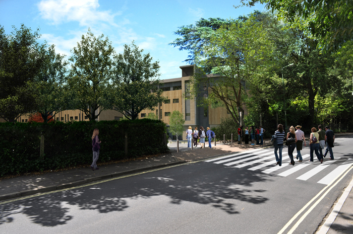 An artists' impression of the Chamberlain Halls (from Glen Eyre Road)