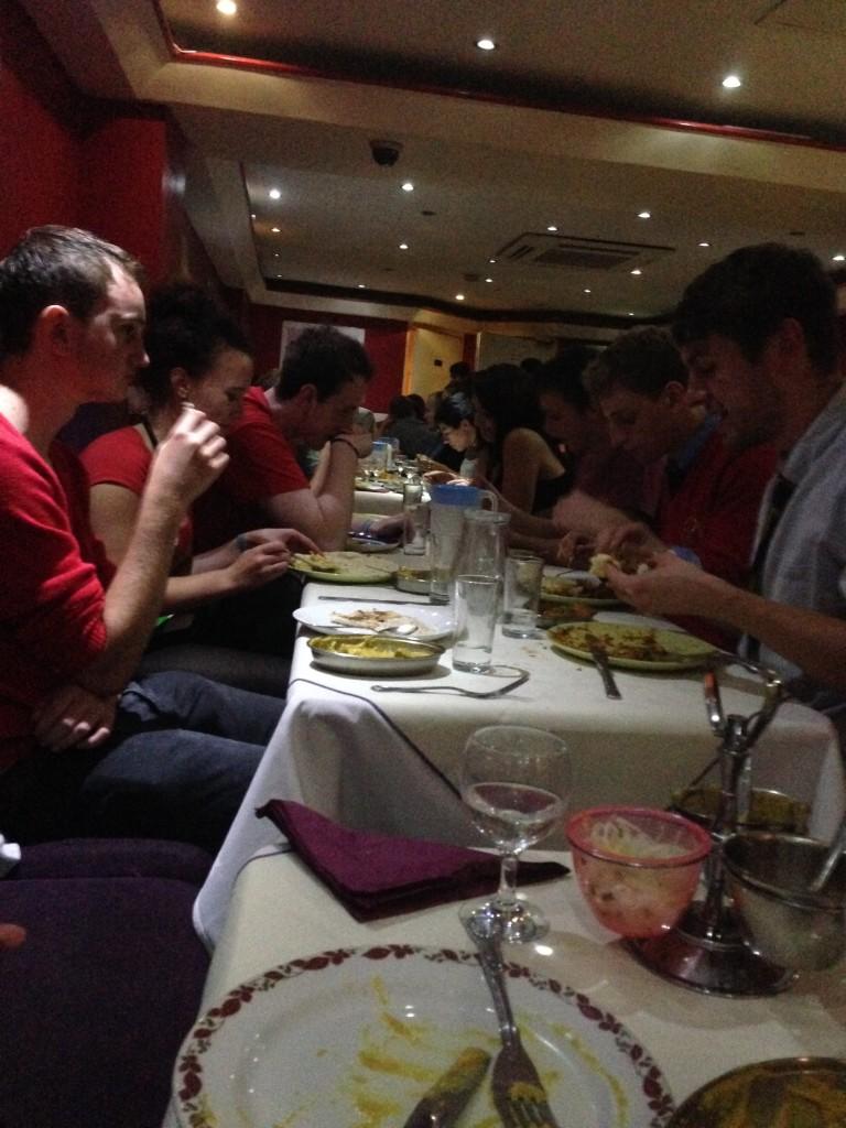 Students enjoying a 1am curry