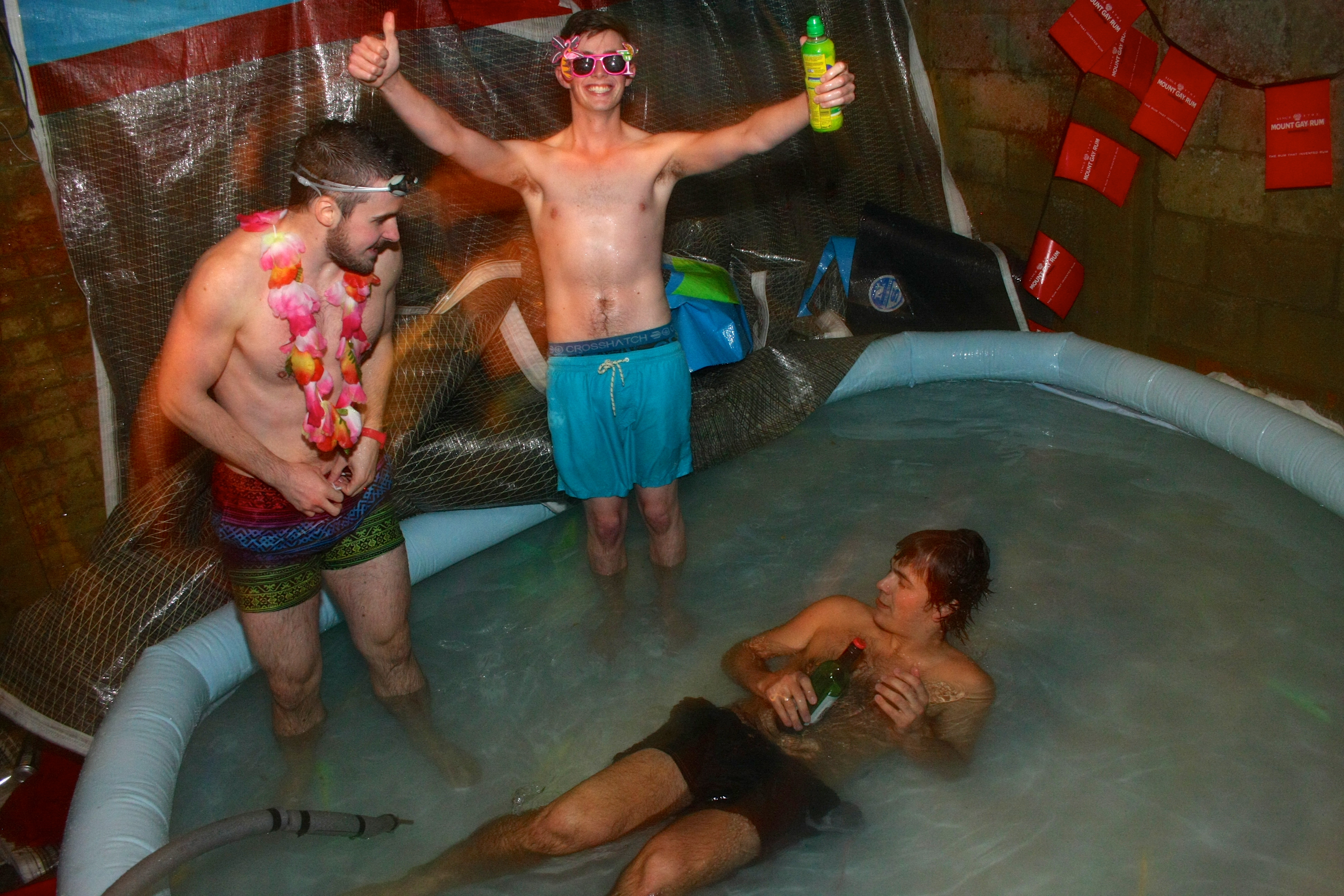 hysteria as students build tub in their own backyard