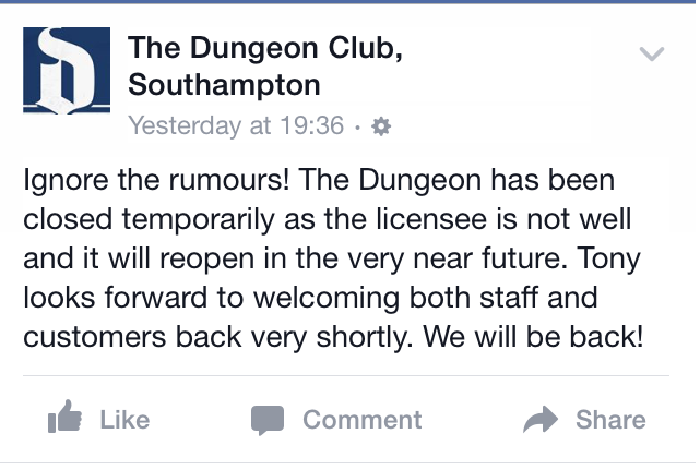 The official statement from the Dungeon's Facebook page