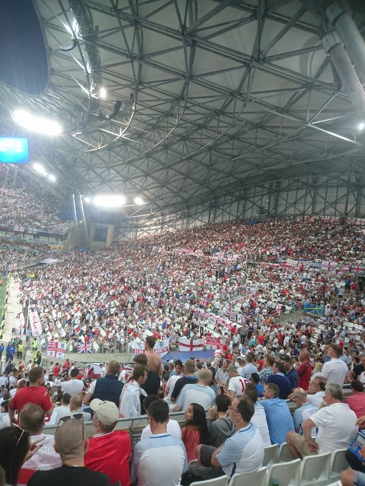 Russian Hooligans: England fans were charged at the full time whistle inside the Stade Veledrom on Saturday night