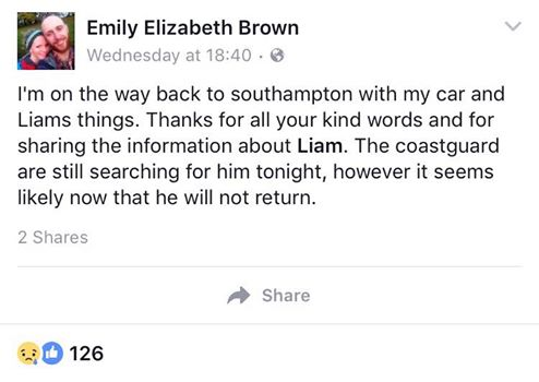 Message of thanks: Liam's girlfriend posted this on Facebook upon her return from Dorset