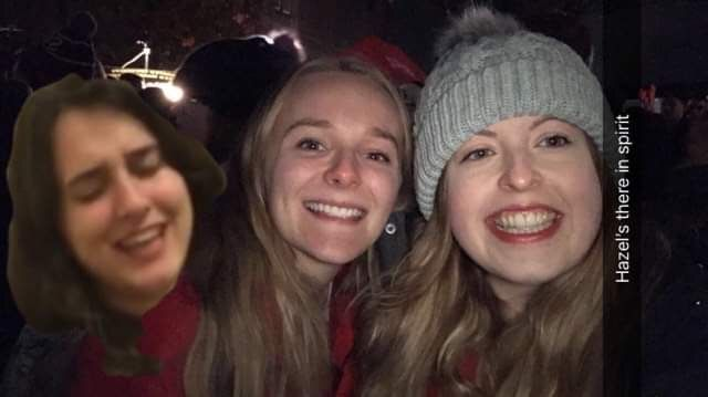 Image may contain: People, Hat, Cap, Selfie, Outdoors, Female, Photography, Portrait, Photo, Night Life, Mouth, Teeth, Lip, Head, Apparel, Clothing, Smile, Face, Human, Person