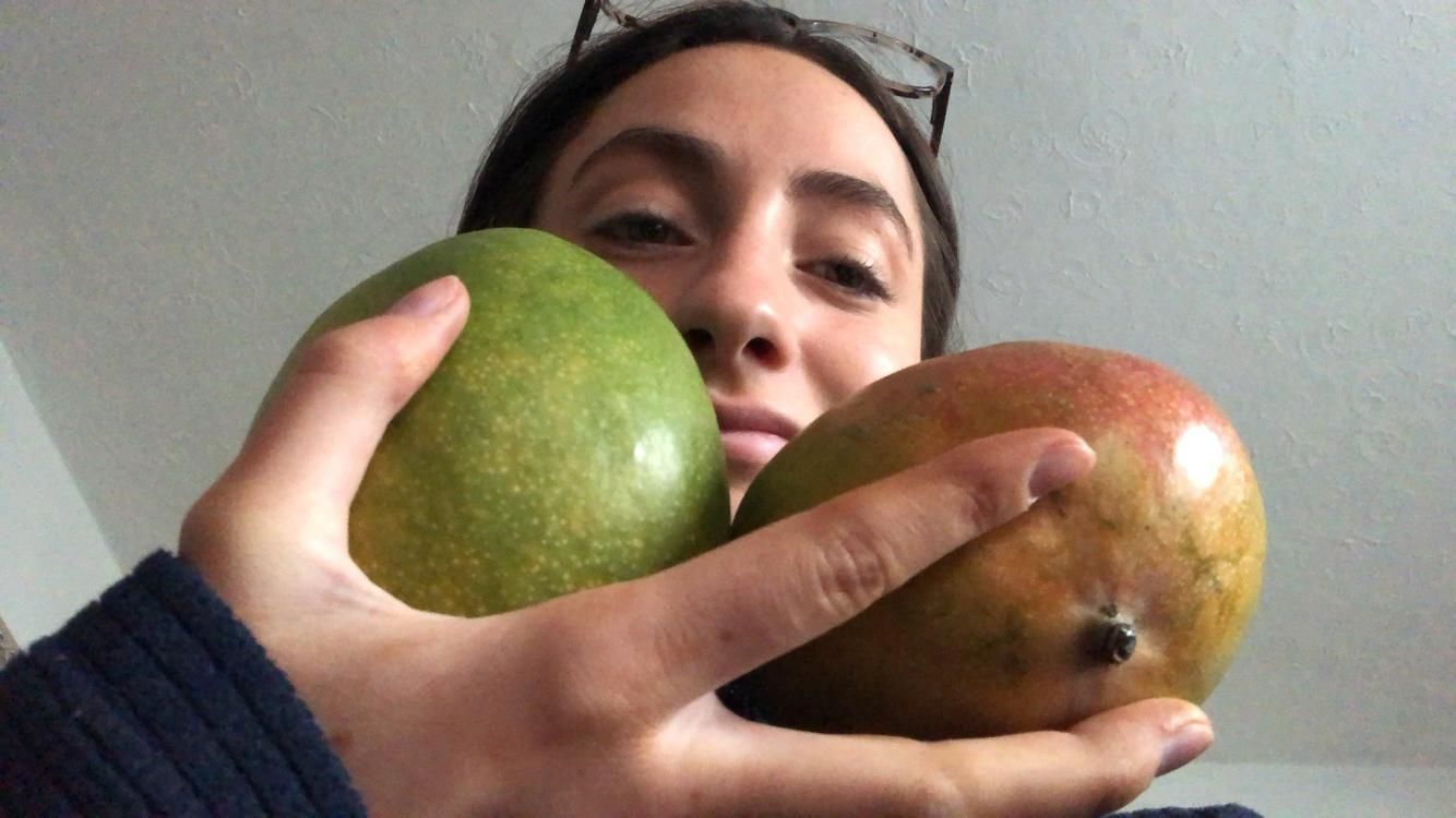 Image may contain: Skin, Mango, Food, Fruit, Person, Human, Plant
