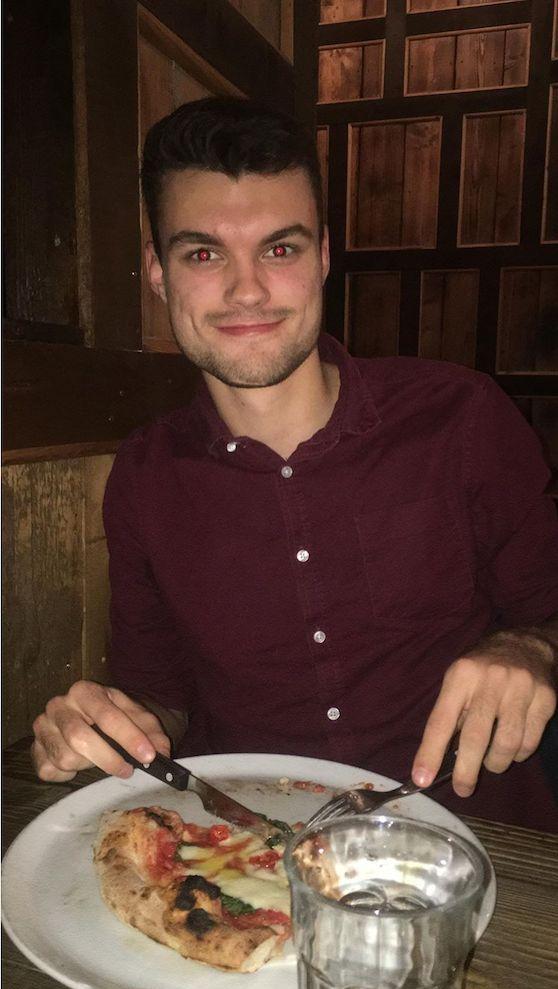 Image may contain: Bowl, Dish, Meal, Pizza, Food, Human, Person