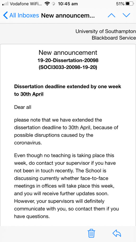 Dissertation deadline extension