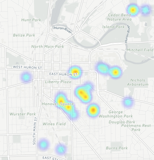 The full heat map of all sexual assault reports at UMich