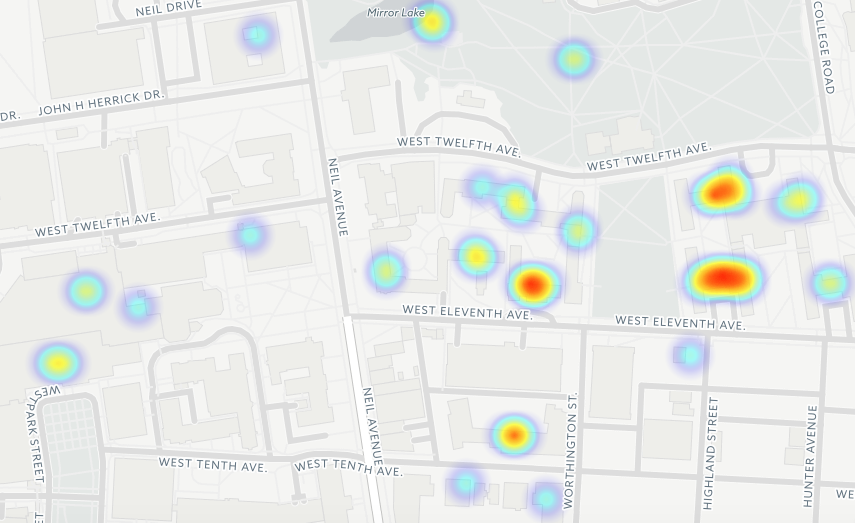 A heat map focusing on clusters of sexual assault reports at OSU