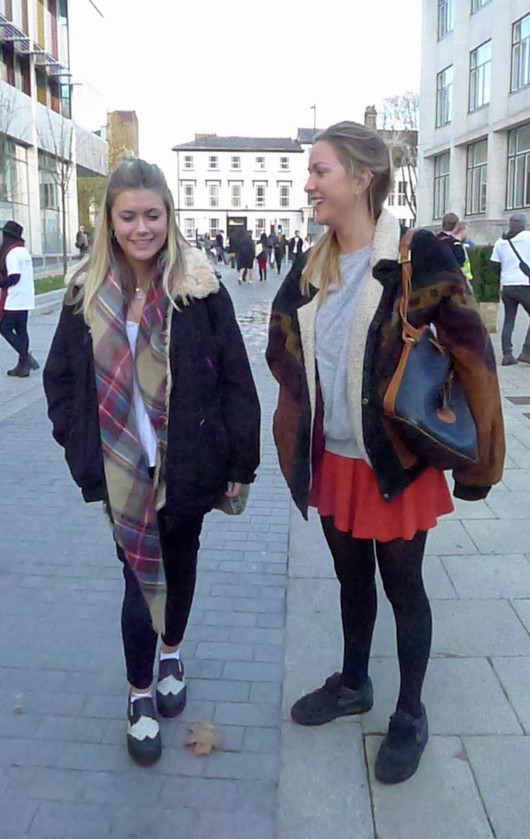 Conseuila and Doris, 2nd year Art History. The trendy two prefer not to discuss their style, but do tell us that they wear whatever makes them feel 'free'.