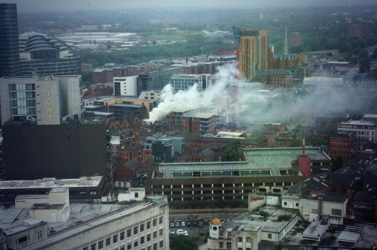 An aerial view of the NQ restaurant fire