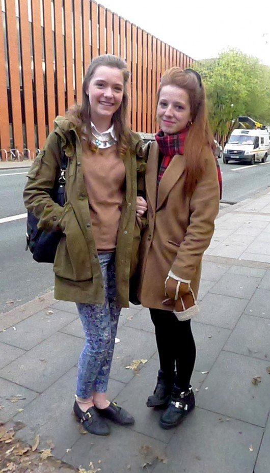 Libby, 1st year International Management and Amy, 1st year Linguistics. Libby and Amy are interested in keeping up with trends and love to wear pastel colours to brighten up winter outfits.