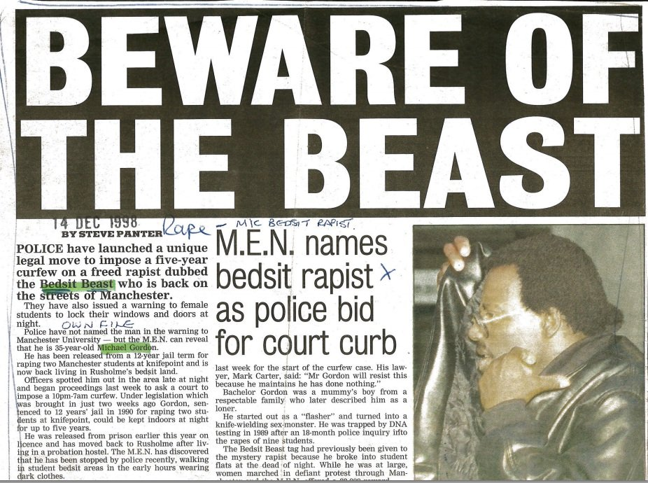 Cuttings from the case of Michael Gordon aka the Bedsit Beast