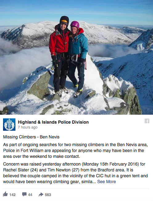 A photograph of the couple was posted by the Highland & Islands Police Division