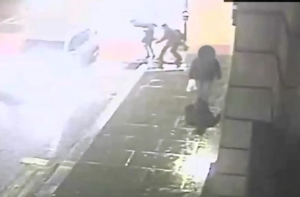The woman turned around and could easily have been hit by a car