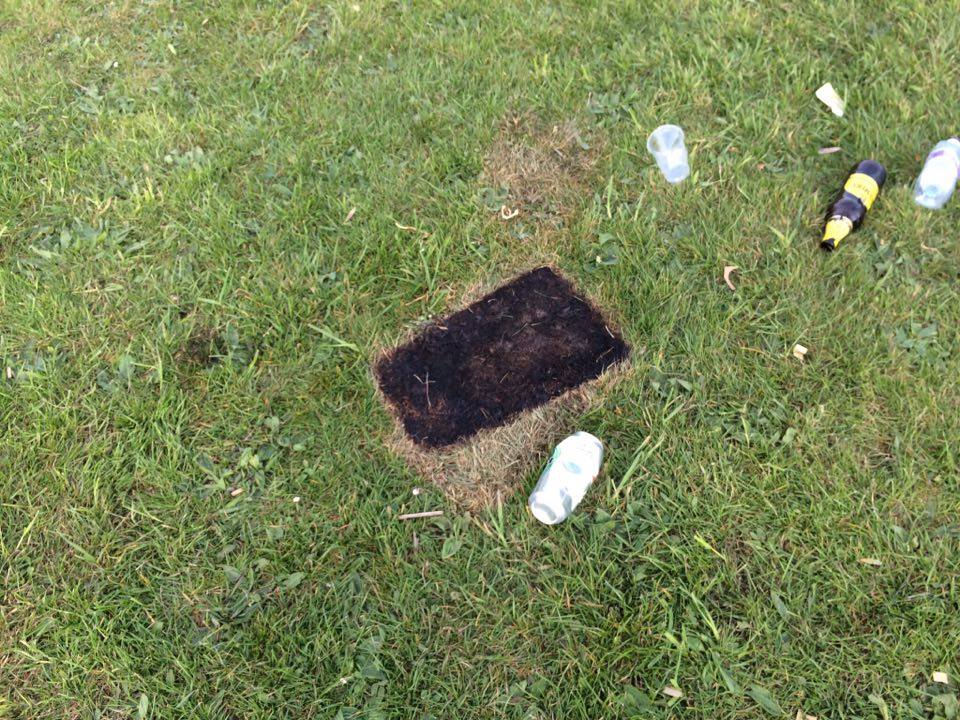 Portable barbecues have scorched the grass