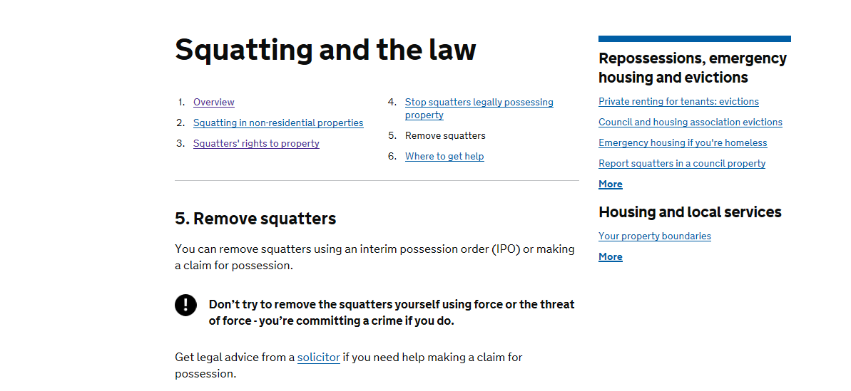 The law regarding squatters