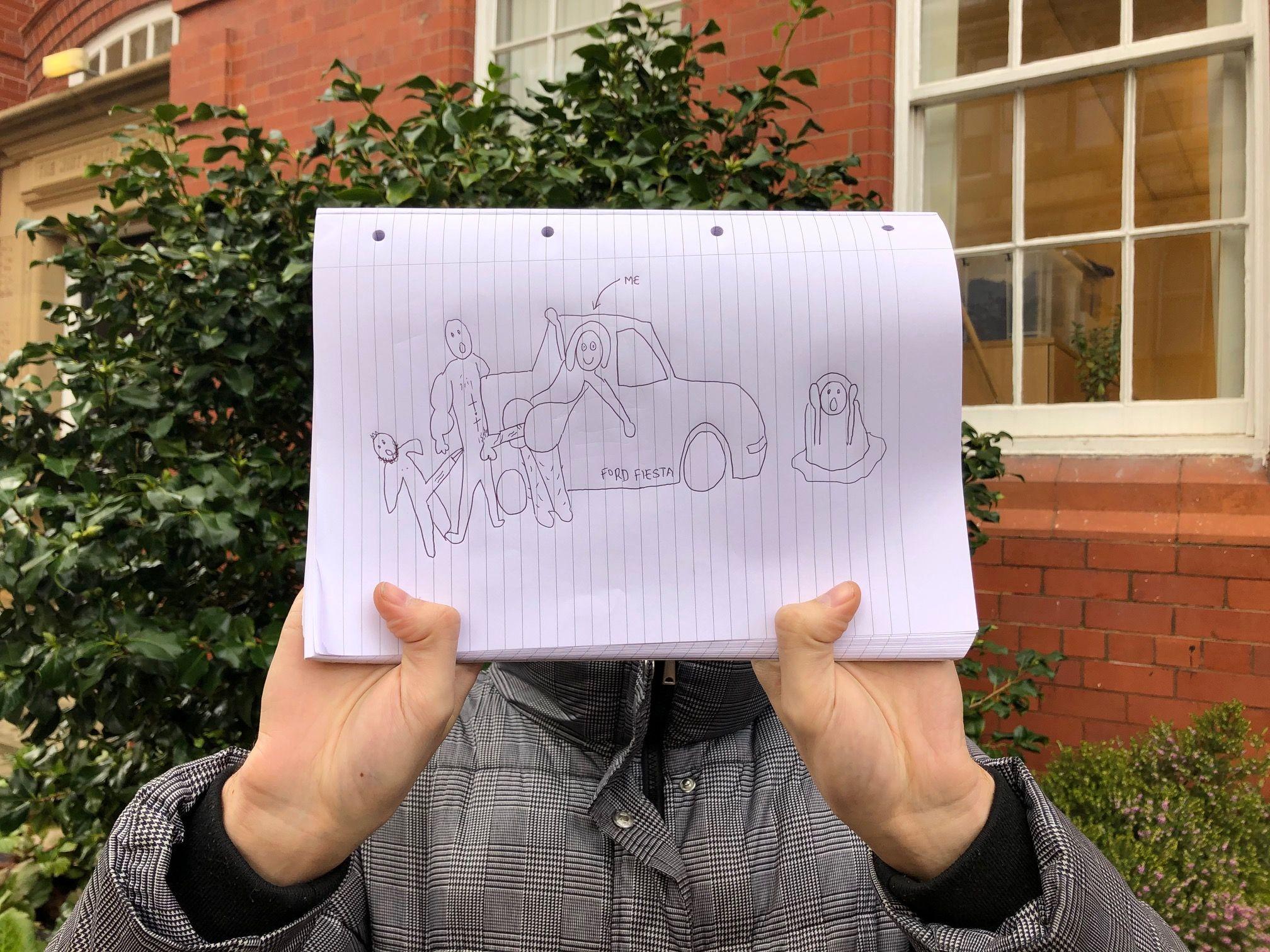 Image may contain: Handwriting, Person, Human, Text