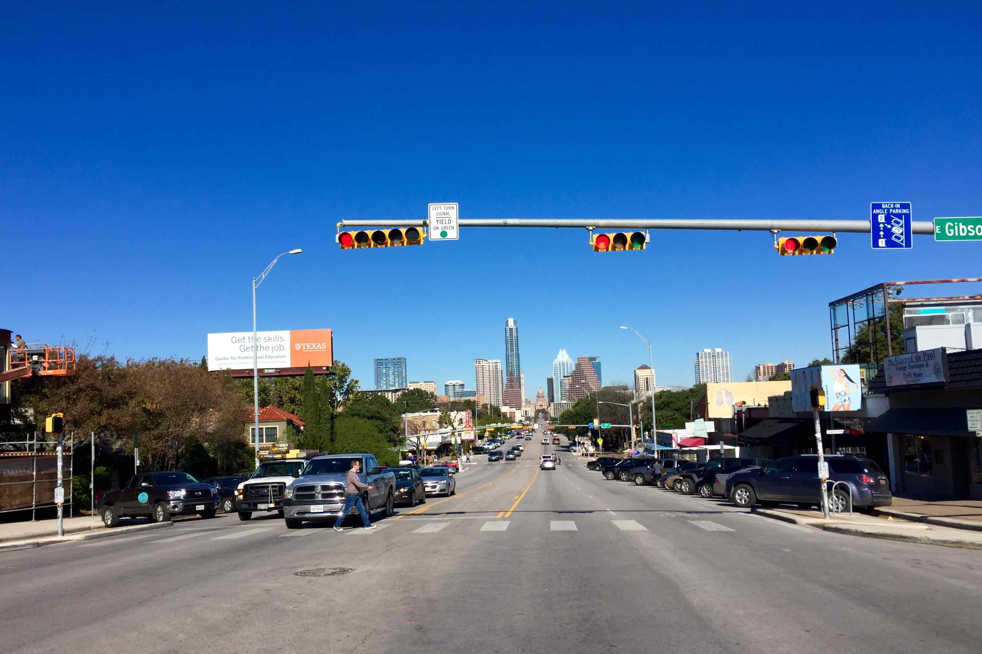 Street view of South Congress during the day.