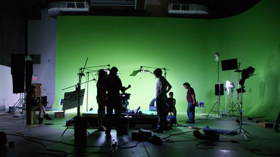 UT students working on a green screen