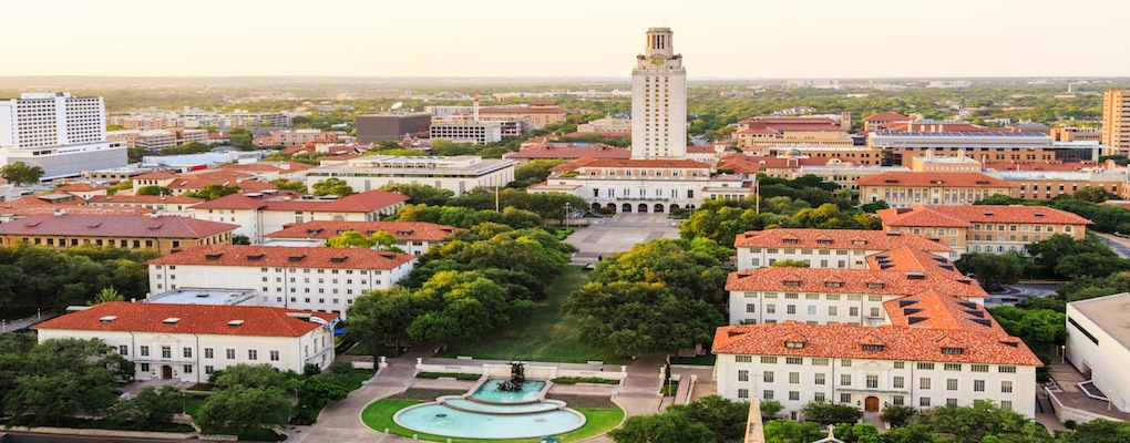 University of Texas Austin campus at sunset-dusk - aerial view