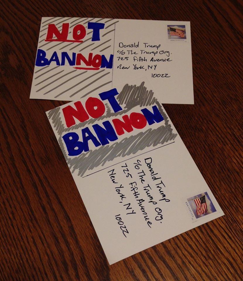 Postcard Avalanche\' to stop Bannon rips through social media