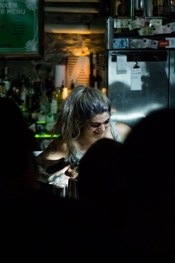 Elyssa competing in LMNs Drunken Master speed drink making competition