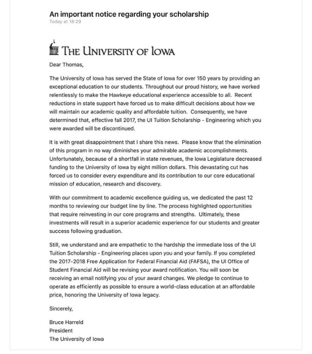 University Of Iowa Scholarships >> Thousands Of Iowa Students Get Scholarships Pulled Due To Cutbacks