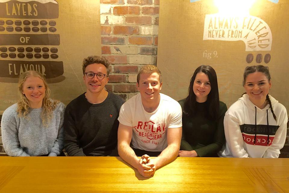 The NUBS entrepreneurs behind Find My Future: Laura Nichols, Ryan Letley, Finlay Hutchinson, Naomi Trembath and Amee Wightman