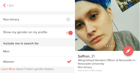 Tinder now has more gender-inclusive settings