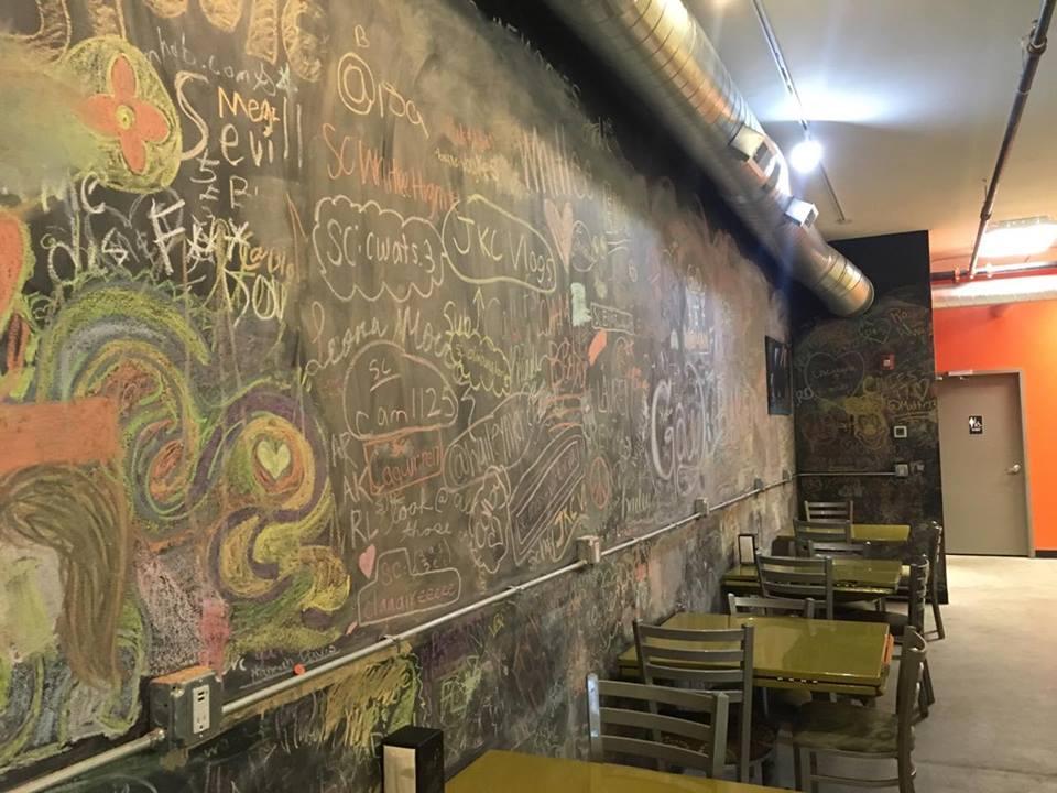 Chalkboard wall at Baked